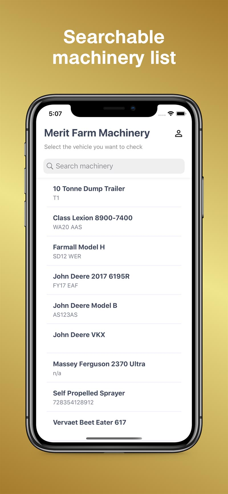 Merit AgCheck App Screenshot - Machinery List