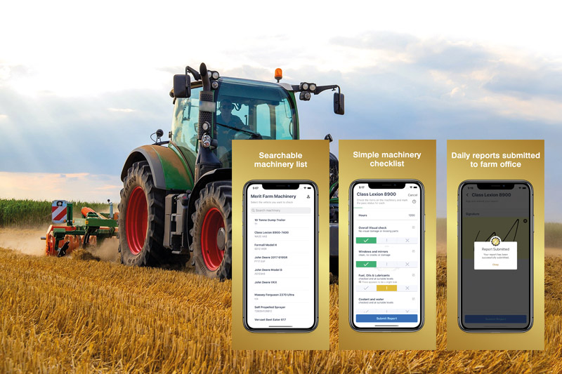 App Screens with Tractor behind
